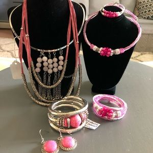 Jewelry - Pink Bracelet, Necklace & Earrings Set